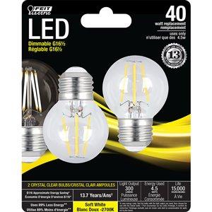 Feit Electric 40-Watt/300 Lumens Medium Base (E-26) Dimmable Globe Filament LED Light Bulb (2-Pack)