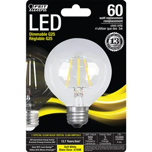 Feit Electric 60-Watt/500 Lumens Medium Base (E-26) Dimmable Globe Filament LED Light Bulb (1-Pack)