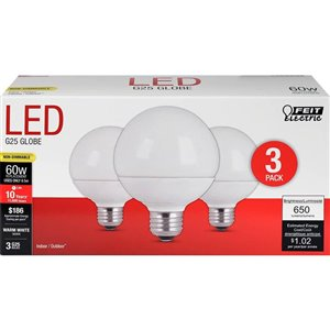 Feit Electric 60-Watt/650 Lumens Medium Base (E-26) G25 Globe LED Light Bulb (3-Pack)