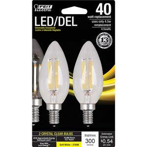 Feit Electric 4.5-Watt/300 Lumens Candelabra Base (E-12) Dimmable Filament LED Light Bulb (2-Pack)