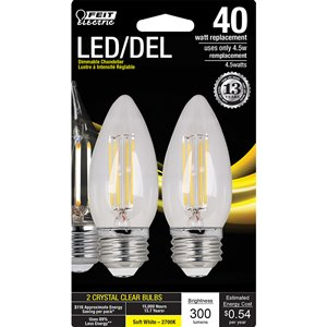 Feit Electric 40-Watt/300 Lumens Medium Base (E-26) Dimmable Candle Filament LED Light Bulb (2-Pack)