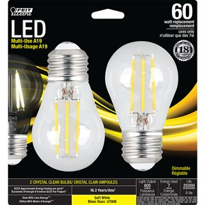 Feit Electric 2-Pack 7-Watt 2700 Kelvins A19 Medium Base (E-26) Dimmable Soft White Indoor LED Bulb