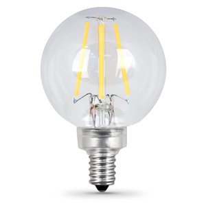 Feit Electric 40-Watt/300 Lumens Candelabra Base (E-12) Dimmable Globe Filament LED Light Bulb (2-Pack)