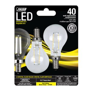 Feit Electric 40-Watt/300 Lumens Candelabra Base (E-12) Dimmable A-Style Filament LED Light Bulb (2-Pack)