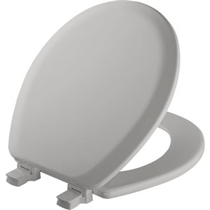 Mayfair Molded Wood Easy Clean and Change Silver Wood Round Toilet Seat