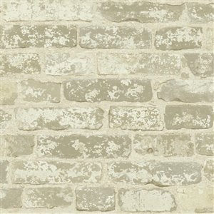 York Wallcoverings Weathered Brick Grey Strippable Non-Woven Paper Prepasted Classic Wallpaper