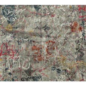 York Wallcoverings Graffiti Grey/Multi Strippable Non-Woven Paper Prepasted Classic Wallpaper