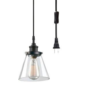 Globe Electric 6.5-in Black Vintage 1-Light Plug-in Pendant