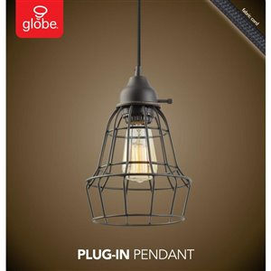 Globe Electric 6.75-in Bronze Vintage 1-Light Plug-in Pendant