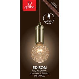 Globe Electric 2-in Chrome Industrial 1-Light Plug-in Pendant