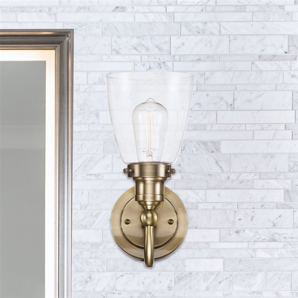 detailed pictures 7f9a3 1881f Bel Air Lighting 1-Light Soft Tone Gold Bell Vanity Light