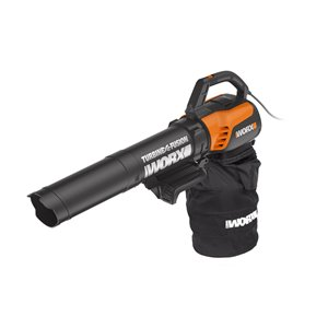 WORX Turbine Fusion 12 Amp 500 Cfm 55 Mph Usage Corded Electric Leaf Blower Vacuum Kit Included