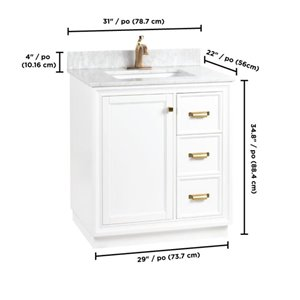 Foremost Everton 30-in Single Sink White Bathroom Vanity With Natural Marble Top