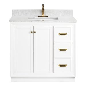 Foremost Everton 36-in Single Sink White Bathroom Vanity With Natural Marble Top
