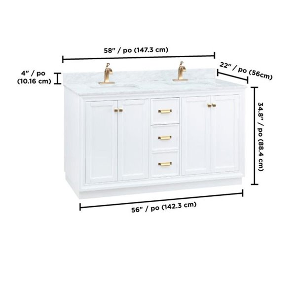 Foremost Everton 58 In Double Sink Natural Carrara White Bathroom Vanity With Natural Marble Top Lowe S Canada