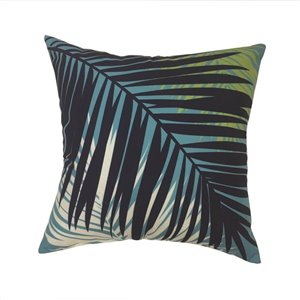 16-in Aqua Palm Polyester Toss Pillow