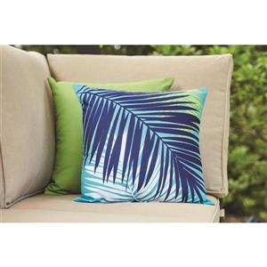 Garden Treasures 16-in Aqua Palm Polyester Toss Pillow