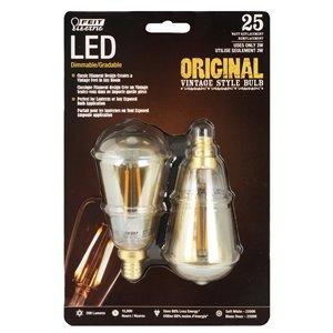Feit Electric 25-Watt/200 Lumens Candelabra Base (E-12) Dimmable A-Style Filament LED Light Bulb (2-Pack)