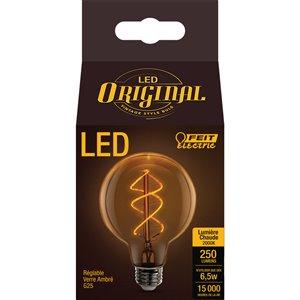 Feit Electric 6.5-Watt/250 Lumens Medium Base (E-26) Dimmable Globe Filament LED Light Bulb (1-Pack)