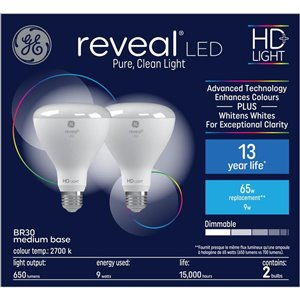 GE 9W LED R30 REVEAL (2-Pack)