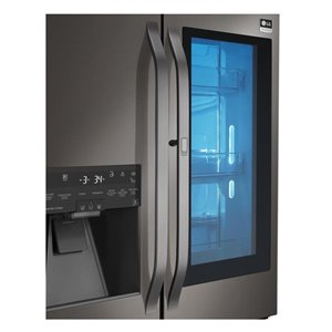 LG Studio LG Studio 23.5-cu ft 3-Door Standard-Depth French Door Refrigerator with Single Ice Makerand Door within Door (Fingerprint-Resistant Black Stainless Steel) ENERGY STAR