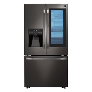 LG studio 36-in 23.5-cu ft French Door Counter-Depth Refrigerator with Ice Maker and Door within Door (Black Stainless Steel)