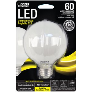 Feit Electric 60-Watt/500 Lumens Medium Base (E-26) Dimmable Globe Filament LED Light Bulb (1-Pack)