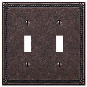 Amerelle Imperial Bead 2-Gang Toggle Wall Plate (Aged Bronze)