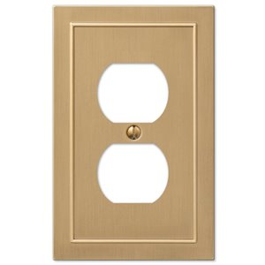 Amerelle Bethany 1-Gang Duplex Receptacle Wall Plate (Brushed Bronze)