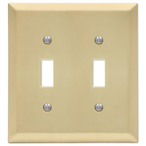 Amerelle 2-Gang Toggle Wall Plate (Satin Brass)