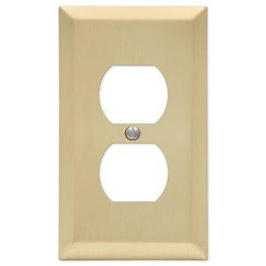 Amerelle 1-Gang Duplex Receptacle Wall Plate (Satin Brass)