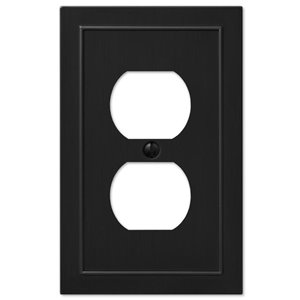 Amerelle Bethany 1-Gang Duplex Receptacle Wall Plate (Black)