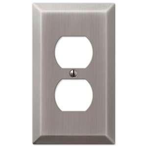 Amerelle 1-Gang Duplex Receptacle Wall Plate (Antique Nickel)