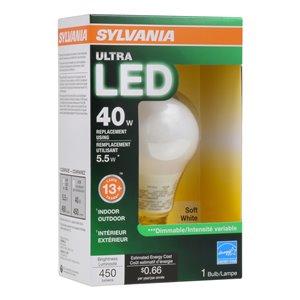 SYLVANIA 40-Watt/450 Lumens Medium Base (E-26) Dimmable A19 LED Light Bulb (1-Pack)
