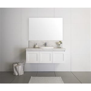 Bondi Designs London 48-in Single Sink Matte White Bathroom Vanity With Solid Surface Top