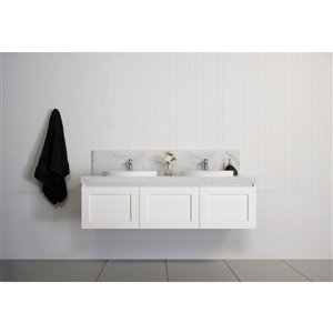Bondi Designs London 60-in Double Sink Matte White Bathroom Vanity With Solid Surface Top