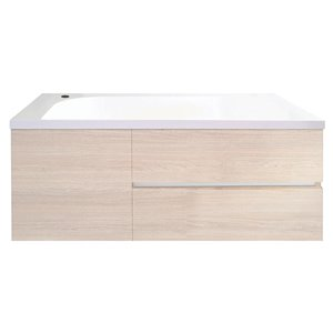 Bondi Designs Saber 36-in Single Sink Seasoned Oak Bathroom Vanity With Solid Surface Top