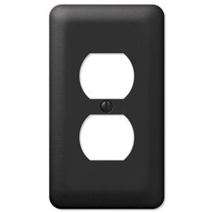Amerelle Devon 1-Gang Duplex Receptacle Wall Plate (Black)