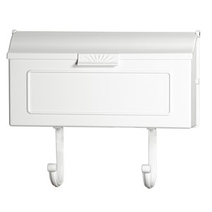 PRO-DF 16-in x 8.25-in Metal White Wall Mount Mailbox