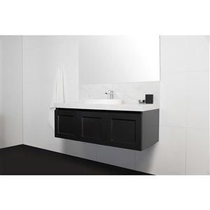 Bondi Designs London 48-in Single Sink Matte Black Bathroom Vanity With Solid Surface Top