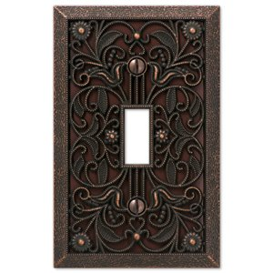 Amerelle Filigree 1-Gang Toggle Wall Plate (Aged Bronze)