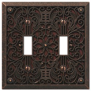 Amerelle Filigree 2-Gang Toggle Wall Plate (Aged Bronze)