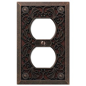Amerelle Filigree 1-Gang Duplex Receptacle Wall Plate (Aged Bronze)