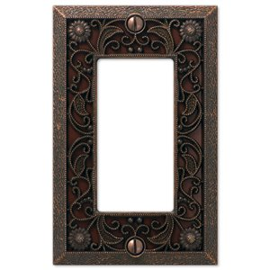 Amerelle Filigree 1-Gang Decorator Rocker Wall Plate (Aged Bronze)