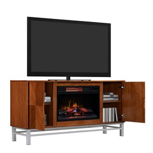 Chimney Free 60-in Contemporary Electric Fireplace Media Mantle