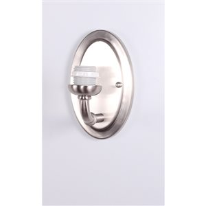 Litex 6.125-in W 1-Light Brushed Nickel Arm Hardwired Wall Sconce