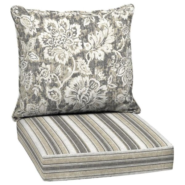 2 Piece Neutral Bloom Reversible, Deep Seating Patio Cushions Canada