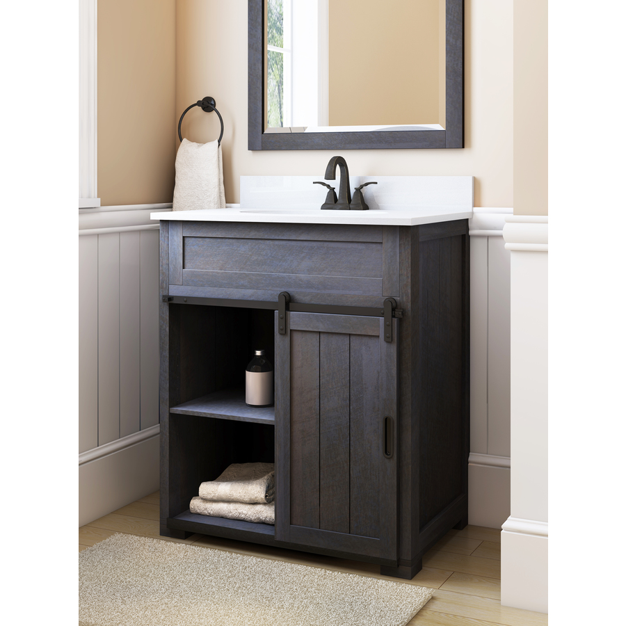 Style Selections Morriston 30 In Single Sink Distressed Java Bathroom Vanity With Engineered Stone Top Lowe S Canada