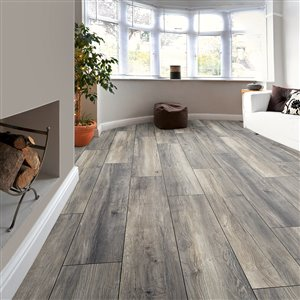 Kronotex Raven Ridge Estate Grey Oak Embossed Wood Laminate Plank Sample