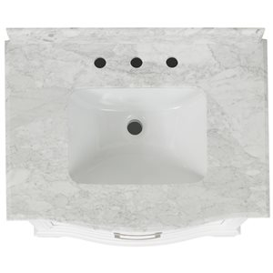 allen + roth Tennaby 30-in Single Sink White Bathroom Vanity With Natural Marble Top